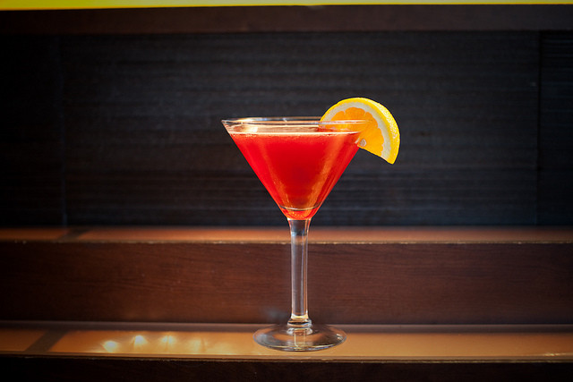 martini on a bar