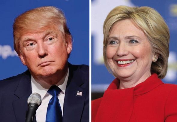 Trump, left; Clinton, right