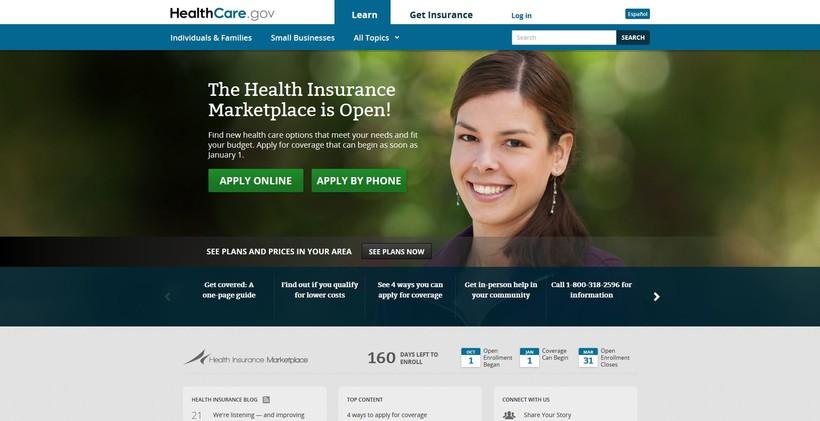 Healthcare.gov homepage