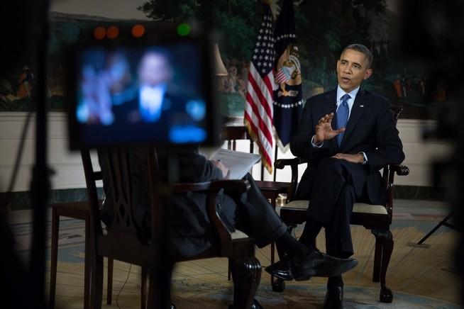 President Barack Obama being interviewed
