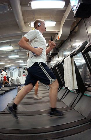 running on the treadmill, photo by US Navy