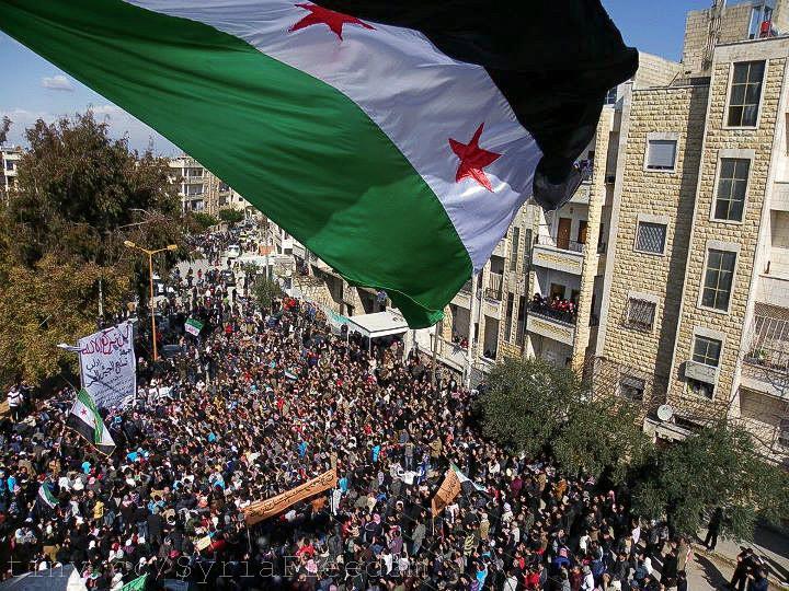Syria Independence flag over Idlib