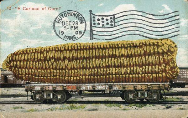 Tall-tale Postcard: A Carload of Corn, WHI 44495
