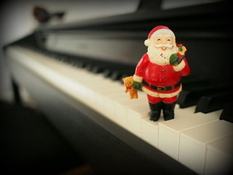 toy Santa on keyboard