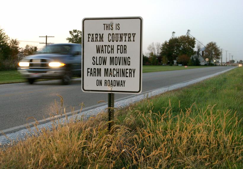farm equipment on roads
