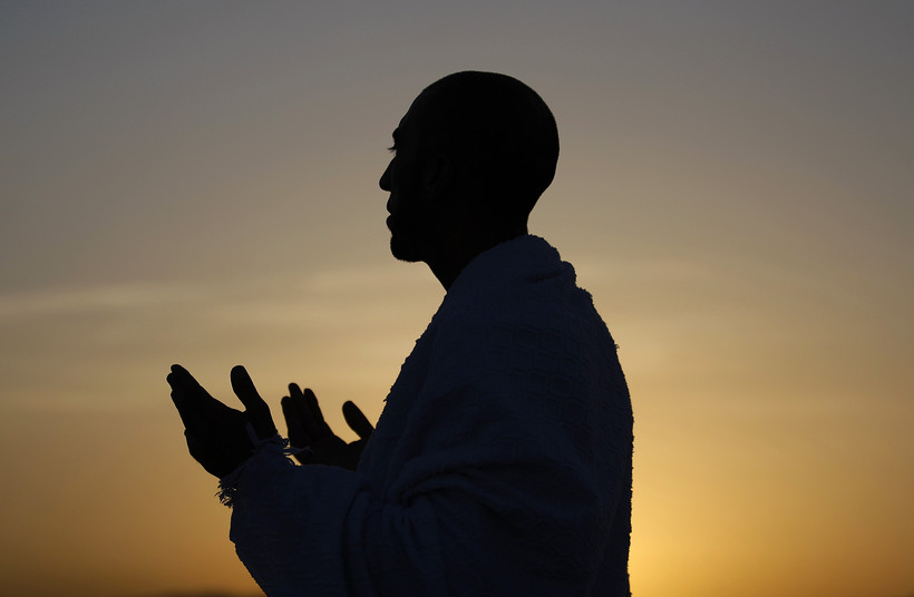A Muslim pilgrim praying