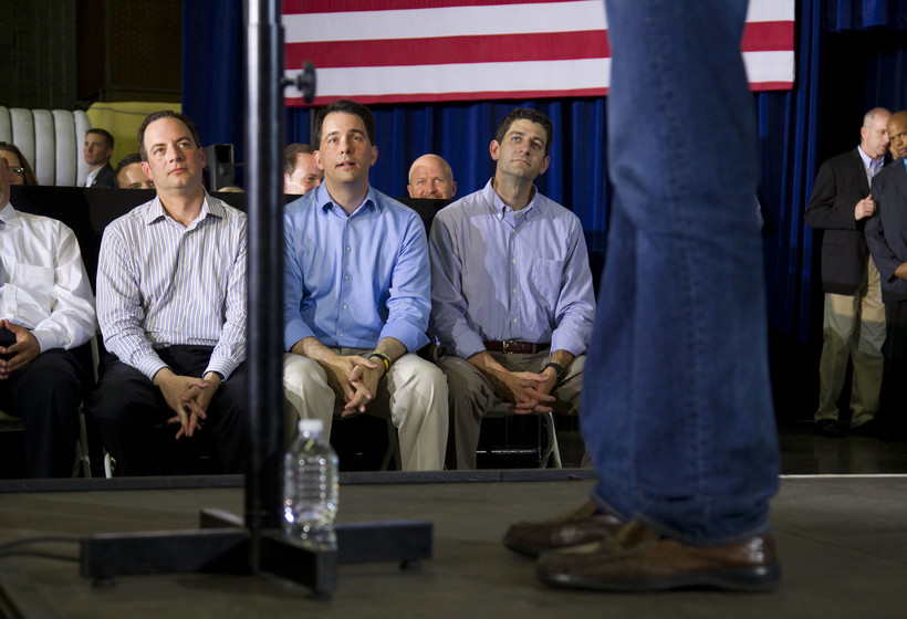 RNC chairman Reince Priebus, left, Gov. Scott Walker, center, and U.S. House Speaker Paul Ryan