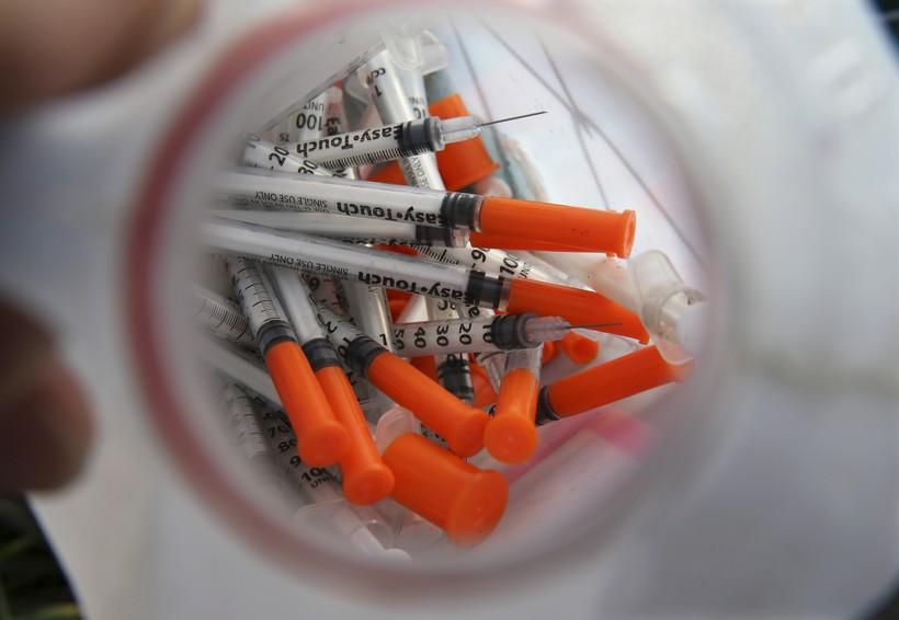 Used heroin needles