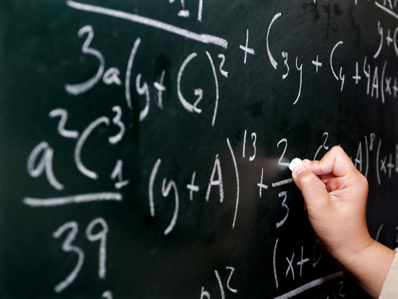 Algebra problem on a chalkboard