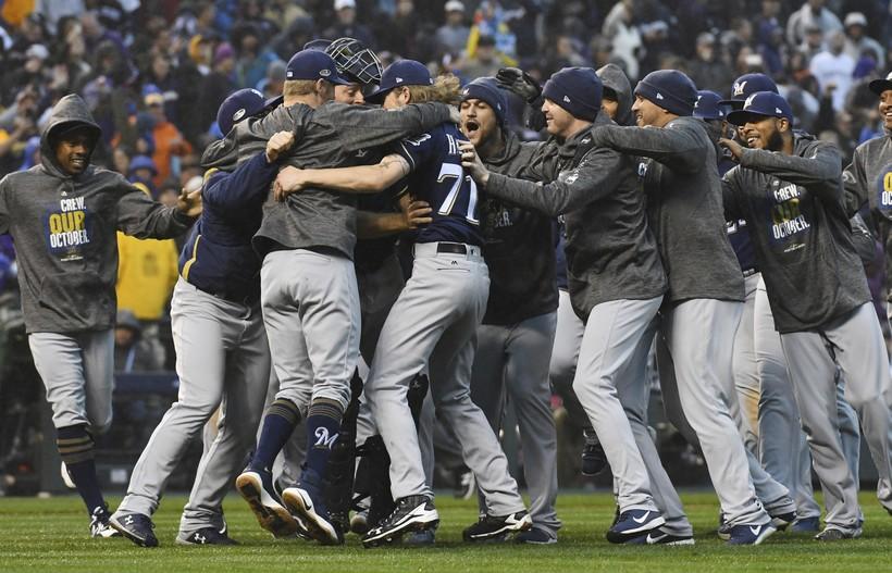 Milwaukee Brewers celebrate winning NLDS