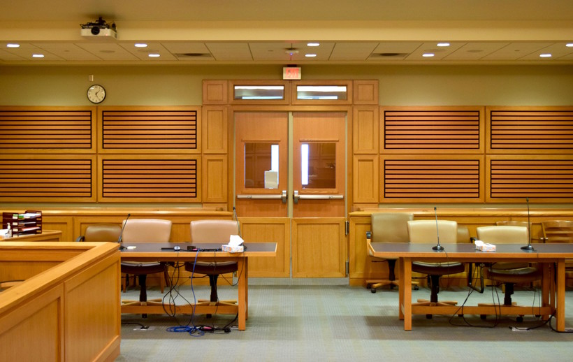 A Dane County courtroom as seen from the witness stand
