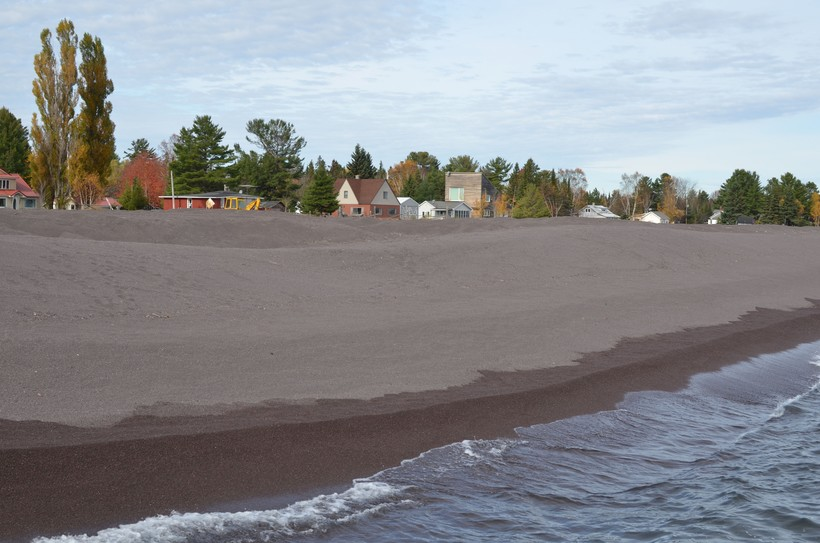 Stamp sands on the beach north of the Grand Traverse Harbor