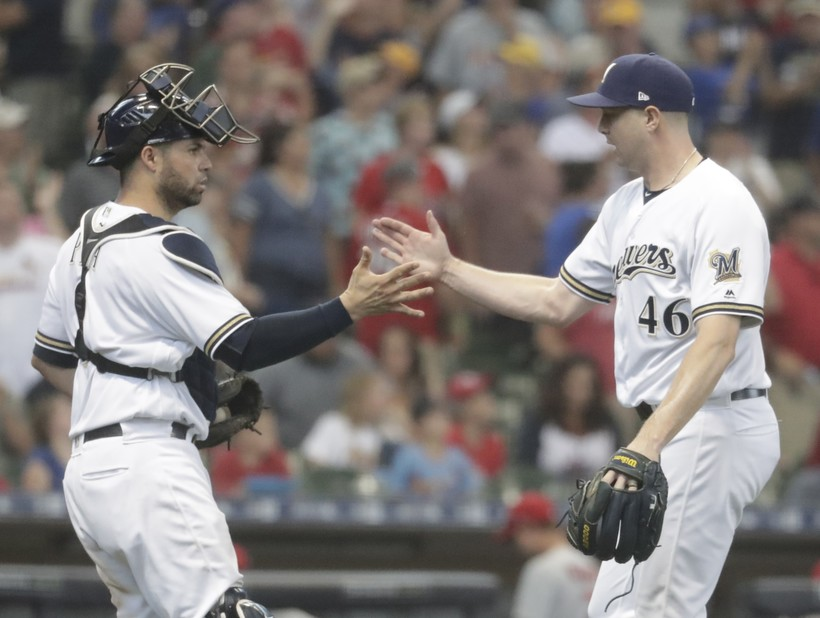 Milwaukee Brewers' Corey Knebel and Manny Pina