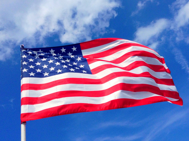 American flag flapping in breeze