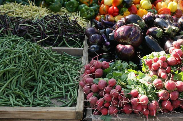 vegetables at a farmers' market