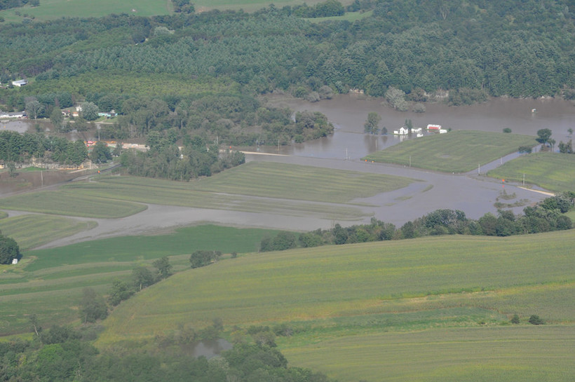 Flooded rural land on Sept. 4 north of Richland Center in RIchland County in southwestern Wisconsin.