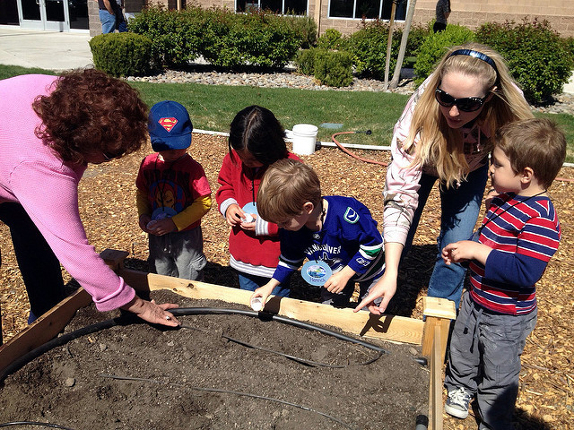 People planting a school garden