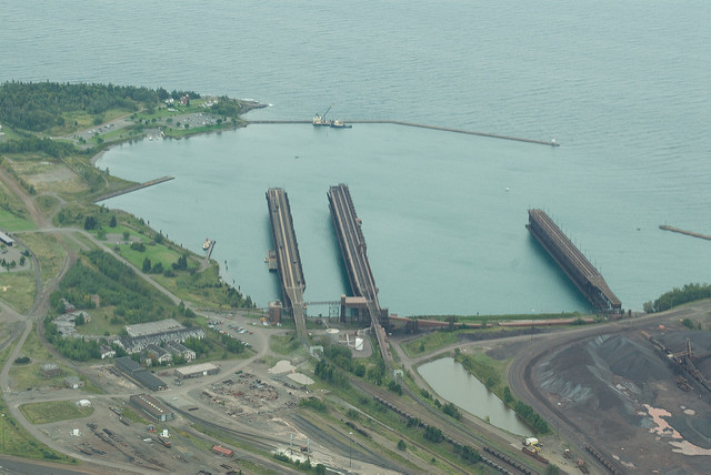 An aerial view of the iron ore docks in Agate Bay, in Two Harbors, Minn.