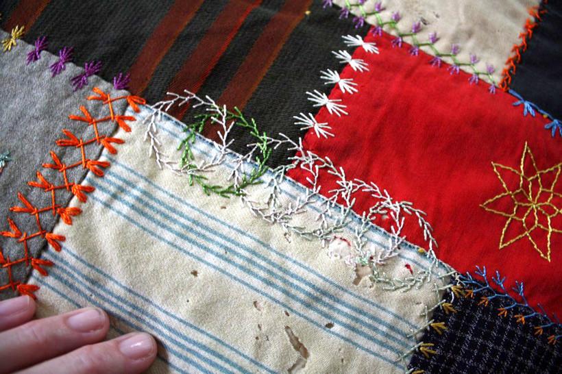Close up of crazy quilt
