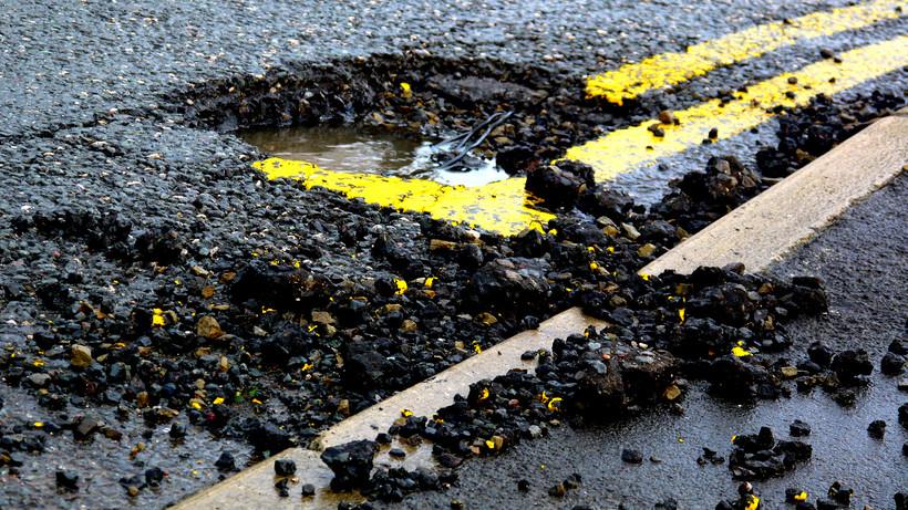 pothole on highway
