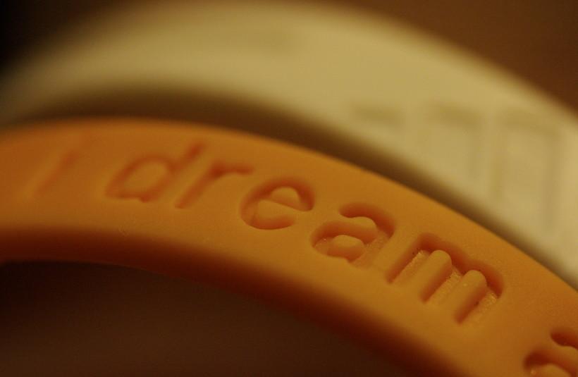 close up of dream wrist band