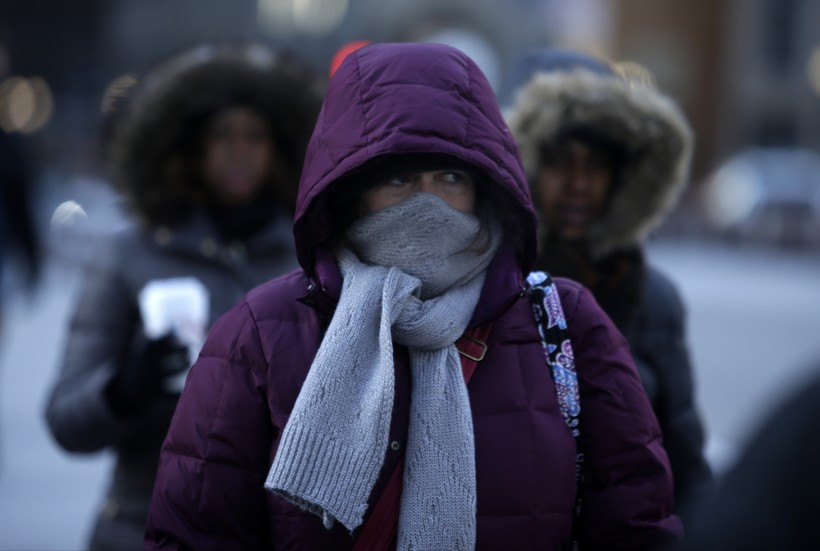 Person bundled up in cold weather