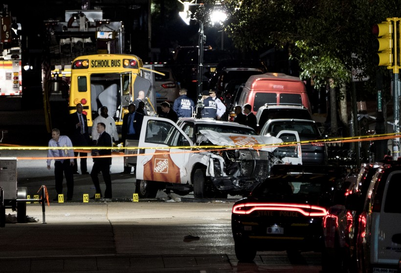 Authorities investigate a Home Depot truck in New York City