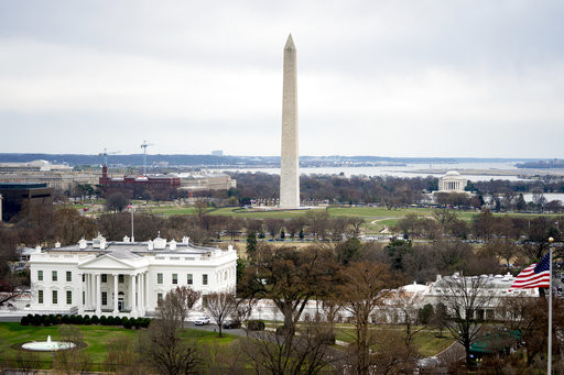 Washington DC Capital Monument White House Aerial Flag