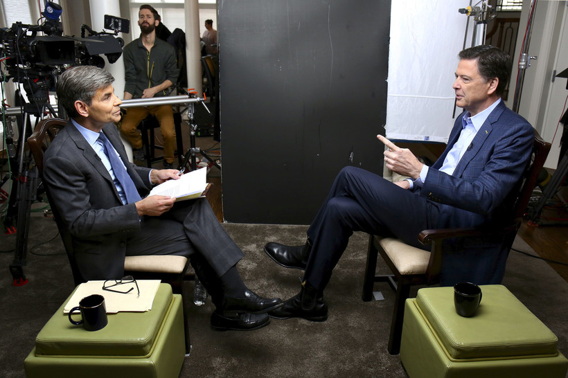 George Stephanopoulos, left, appears with former FBI director James Comey