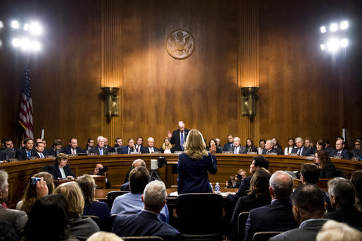 Christine Blasey Ford is sworn in by Senate Judiciary Committee chairman Chuck Grassley
