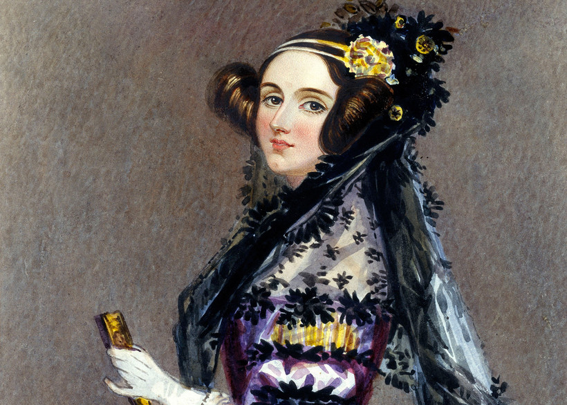 Watercolor portrait of Ada King, Countess of Lovelace (Ada Lovelace)