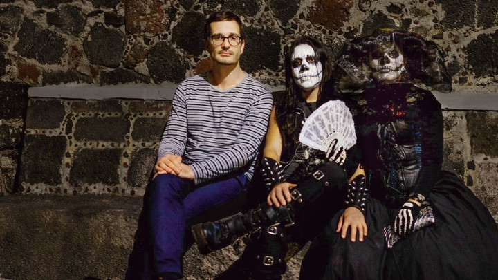 "Netflix's ""Dark Tourist"" host David Farrier with members of Mexico City cult that worships death"