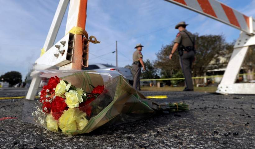 Flowers near the First Baptist Church of Sutherland Springs