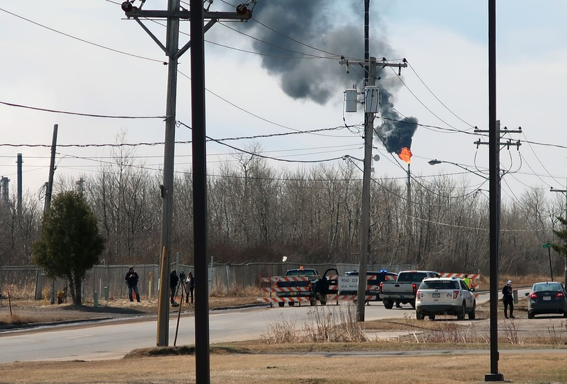 Smoke billows up from Husky Energy refinery