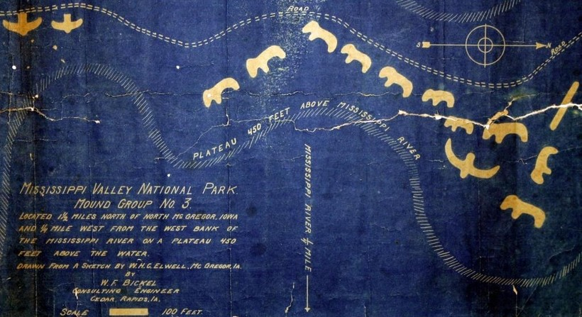 """Historic document from the effort to create """"Mississippi Valley National Park""""  in the early 20th Century which eventually lead to the establishment of Effigy Mounds National Monument."""
