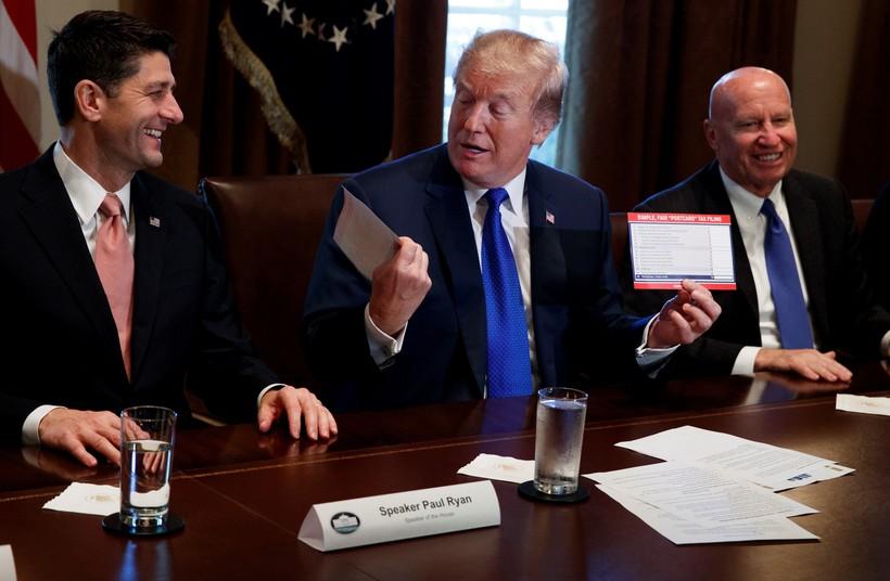 House Speaker Paul Ryan, President Donald Trump and U.S. Rep. Kevin Brady