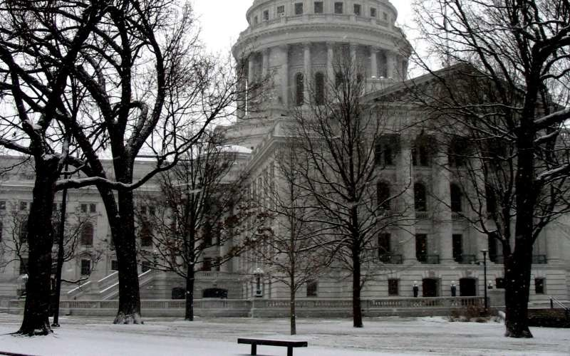 Wisconsin State Capitol in snow