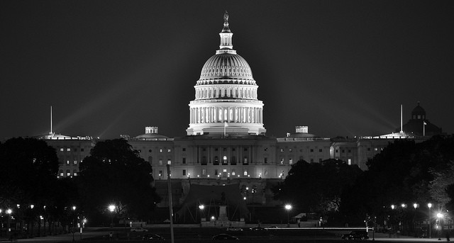 Black and white photo of the Capitol building in Washington DC