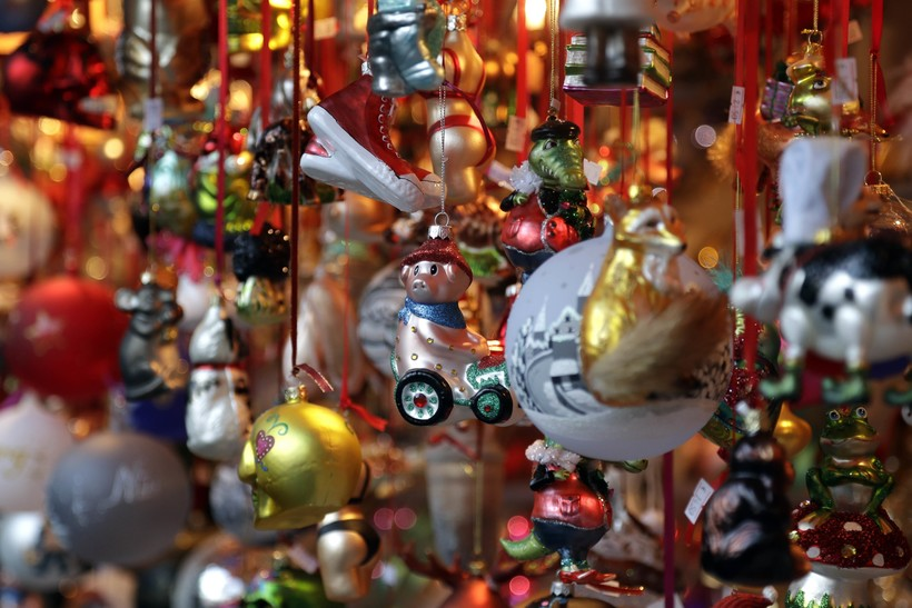 Christmas decorations on display in Germany Christmas Market