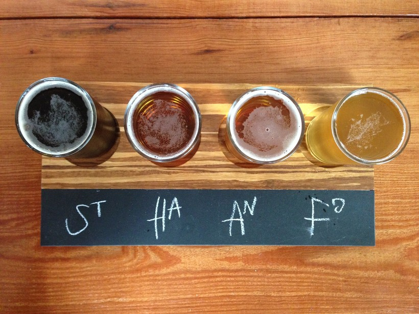 flight of craft beers