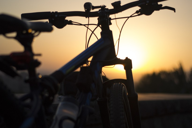 sihlouette of bicycle