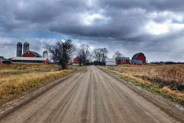 farm scene with rural road