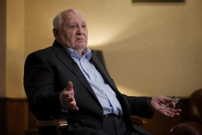 former Soviet President Mikhail Gorbachev speaks to the Associated Press