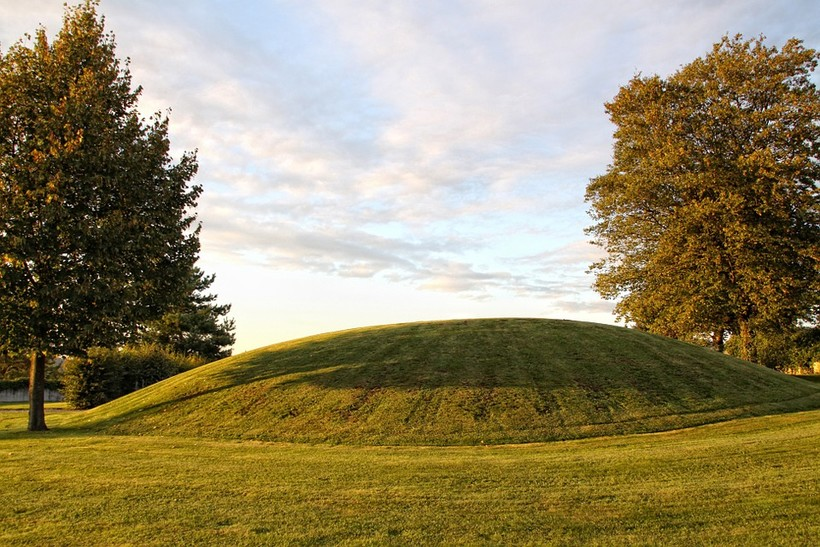 An Indian Mound surrounded by trees