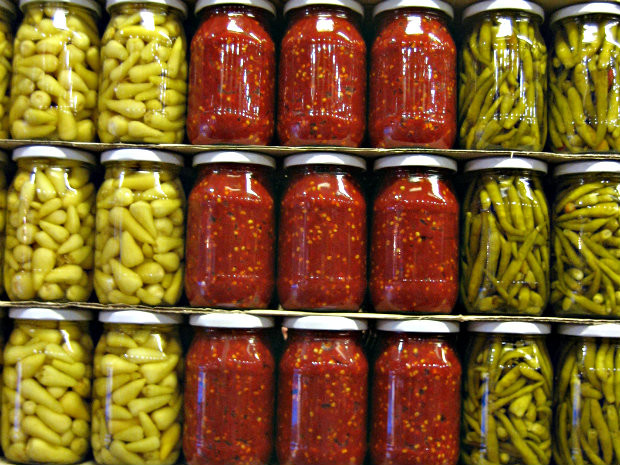 Jars of pickled produce