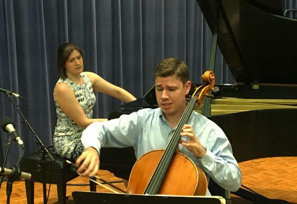 Photo of cellist Zachary Preucil with pianist Katherine Petersen