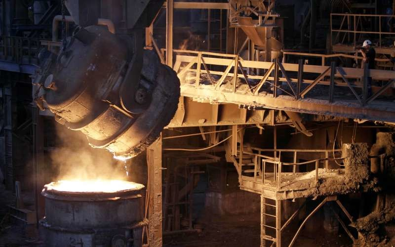 molten steel at a steel mill