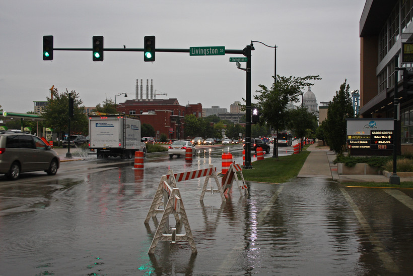 Flooding on East Washington Avenue in Madison slows the morning commute