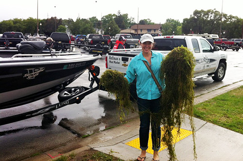 Removing vegetation attached to boats is one part of a thorough inspection and helps prevent the spread of AIS.