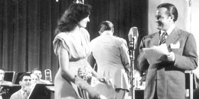 Photo of a Command Performance showwith Jane-Russell and Bob Hope